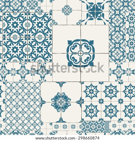 Cracked tile pattern for kitchen, retro blue STYLE - stock vector