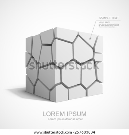 Cracked vector white cube. Easy to change color for each piece. - stock vector