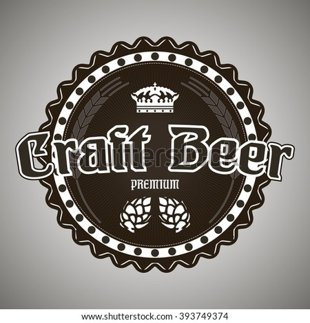 Craft beer black and white sticker or logo royal crown premium style icon - stock vector