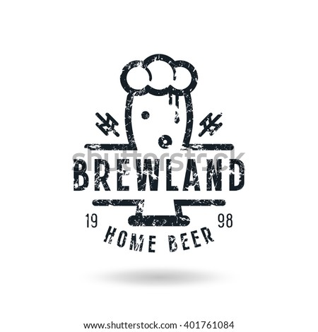 Craft beer brewery emblem with shabby texture. Black print on white background