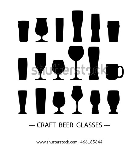 Craft beer glass icons set