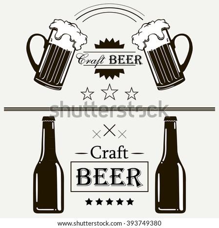 Craft beer vintage label set emblems and design elements art - stock vector