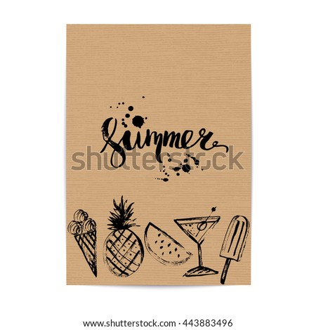 Craft Brown Paper Design Template Ink Stock Vector HD (Royalty Free ...