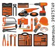 Craft icons - Hand tools (Set 1) Icons of tools for engineering, carpentry, plumbing... - stock vector