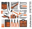 Craft icons - Hand tools (Set 3) Icons of tools for engineering, carpentry, plumbing... - stock vector