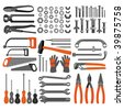 Craft icons - Hand tools (Set 4) Icons of tools for engineering, carpentry, plumbing... - stock vector
