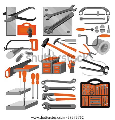 Craft icons - Hand tools (Set 2) Icons of tools for engineering, carpentry, plumbing... - stock vector