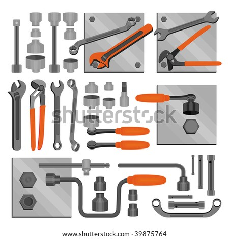 Craft icons - Hand tools (Set 6) Icons of tools for engineering, carpentry, plumbing... - stock vector