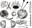 Craft icons - Sewing Icons for sewing, knitting, crafts, hobbies. Collection of design elements isolated on White background. Vector illustration - stock vector