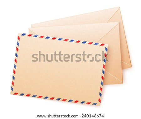 Craft paper vector envelops