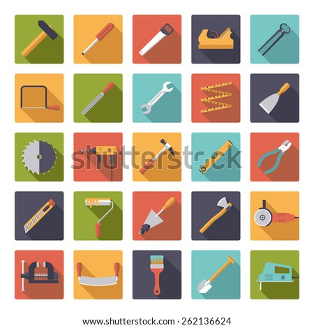 Crafting Tools Flat Design Vector Icons Collection. Set of 25 tools and crafting icons in rounded squares, flat design. - stock vector