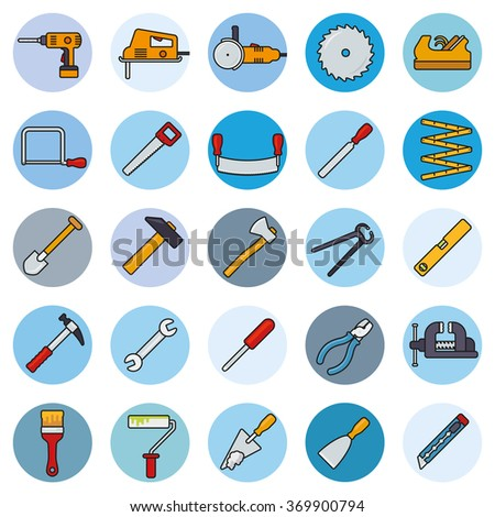 Crafting Tools Round Filled Line Icons Vector Set. Collection of filled line tools and crafting icons in blue circles - stock vector