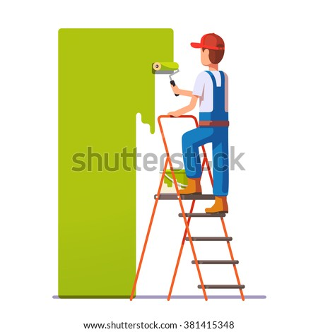 Craftsman painting white wall with roller green paint. Flat style modern vector illustration. - stock vector