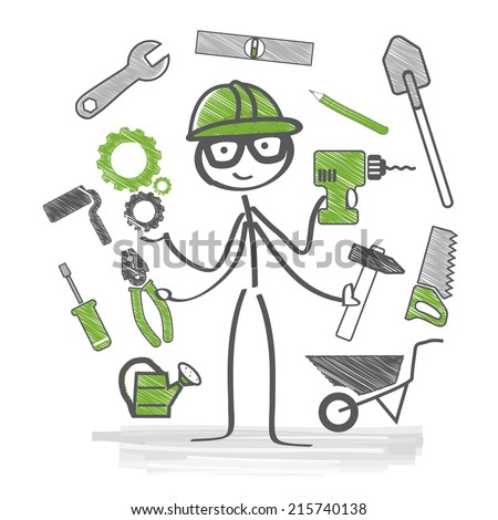 Craftsmen with many different tools - stock vector