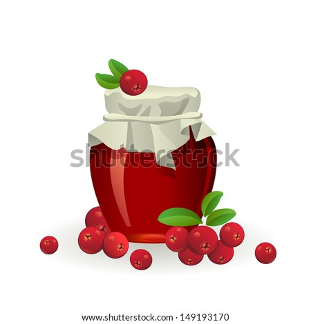 Cranberry jam jar with fresh berry isolated on white background - stock vector