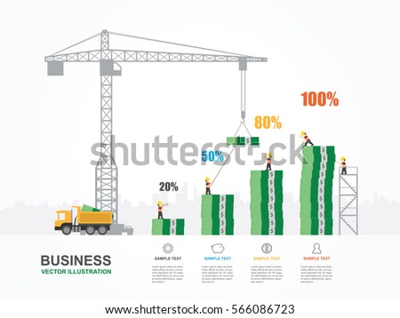 Crane Building Money Infographic Template Vector Stock Vector ...