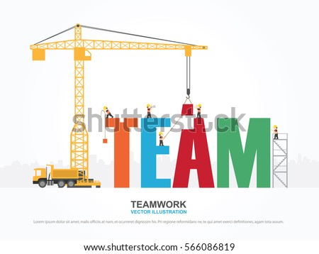 Crane Team Building Infographic Template Vector Stock Photo (Photo ...