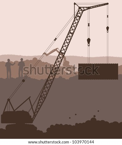 Crane at construction site vector background - stock vector