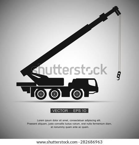 Crane  construction machinery equipment isolated. Vector symbol