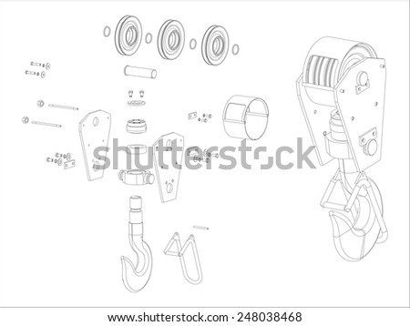 Crane hook. Device for lifting heavy parts. Engineering sketch of the working mechanism. Assembly parts, fasteners. Vector 3D-image of devices. - stock vector