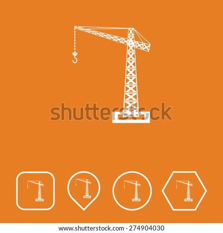 Crane Icon on Flat UI Colors with Different Shapes. Eps-10. - stock vector