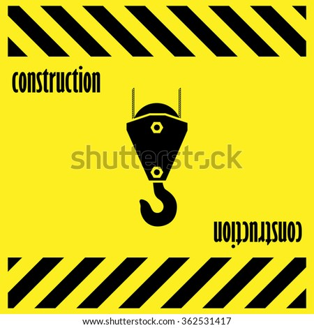 crane lift, Industrial hook on yellow background, construction company, symbol