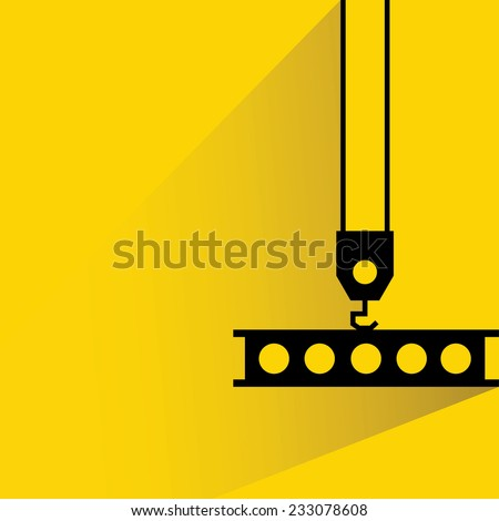 crane lift, Industrial hook on yellow background, flat and shadow theme - stock vector