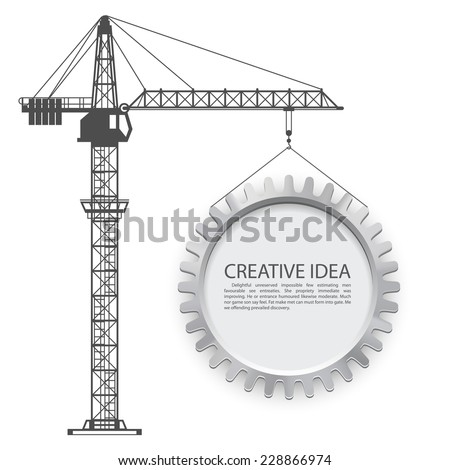 Crane lifts the gear. Vector illustration - stock vector