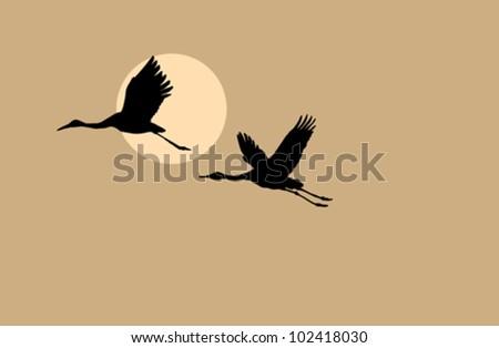 crane silhouette on solar background, vector illustration - stock vector