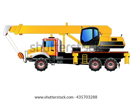 Crane truck, vector illustration. Isolated on white. Icon. Flat style