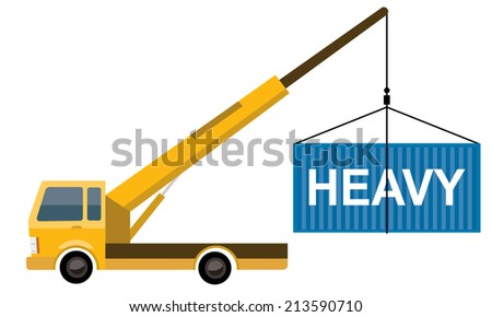 crane truck with container  - stock vector