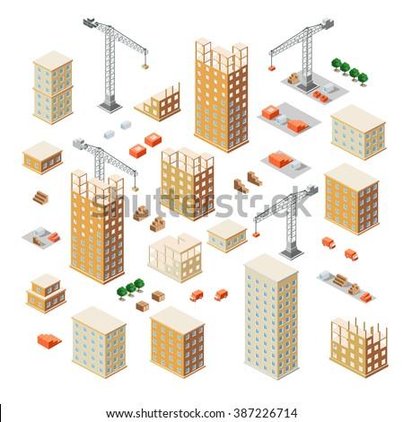 Crane  Urban industrial isometric 3d architectural flat plan. Isometric concept architectural drawings and building plans. Skyscraper building construction floor plan.  Business concept infographics. - stock vector