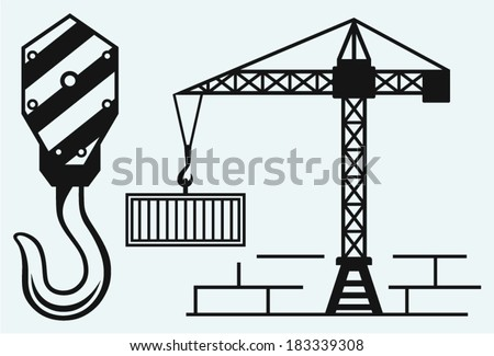 Crane working and hook of a crane - stock vector