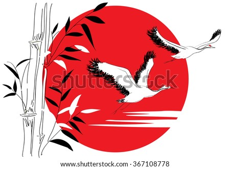 Cranes and bamboo in the sun - stock vector