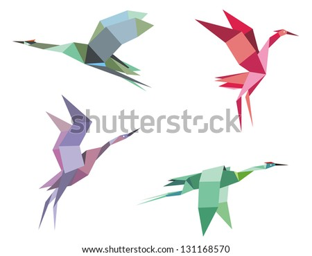 Cranes and herons birds in origami paper style for ecological or another design. Jpeg (bitmap) version also available in gallery - stock vector