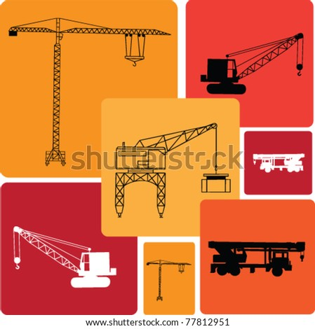 cranes vector illustrations - stock vector