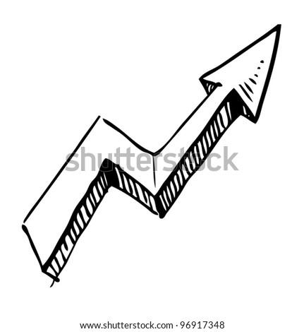 Crankle hand drawing arrow. Sketch vector symbol - stock vector