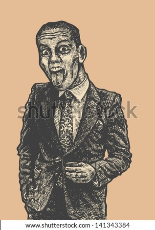 cranky office worker in a suit shows tongue. engraving style. vector illustration