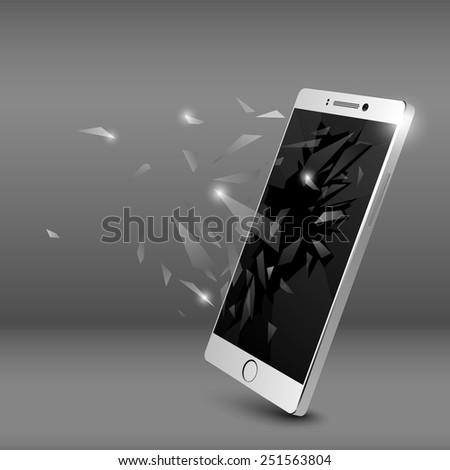 Crash phone - stock vector