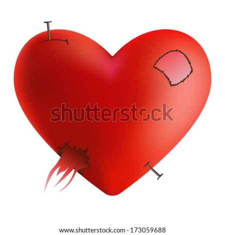 Crashed heart with sewn thread - stock vector
