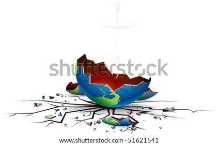Crashed world, Apocalypse  concept, vector illustration - stock vector