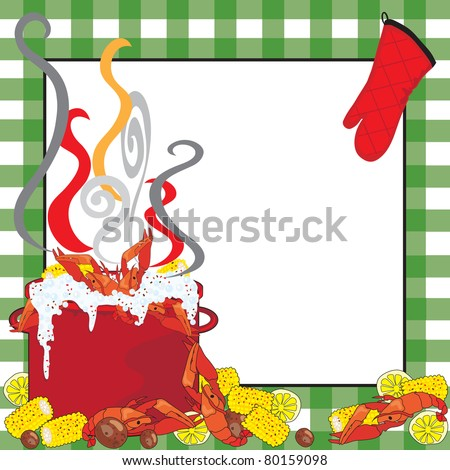 Crawfish Boil Invitation with a green tablecloth frame