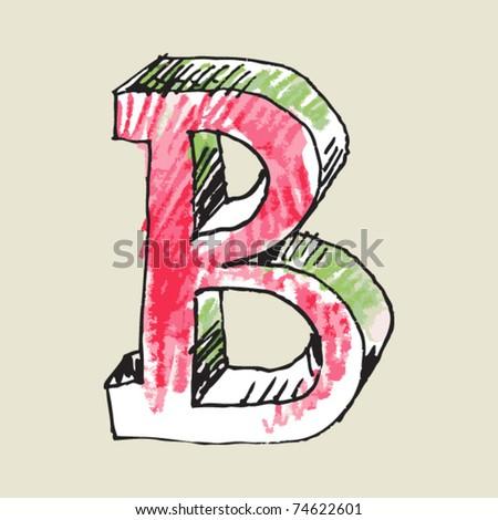 crayon alphabet, hand drawn letter B - stock vector