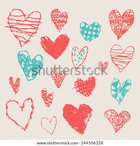 Crayon and pastel grunge hearts set. Hand drawn sketch. Vector illustration. - stock vector