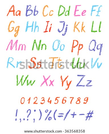 Crayon child's drawing alphabet. Pastel chalk font. ABC drawing letters. Kids drawn colorful alphabet. Vector. - stock vector