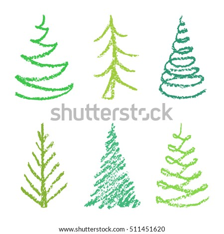 Crayon Childs Drawing Of Merry Christmas Tree Set On White Hand Painting Pastel Green Color
