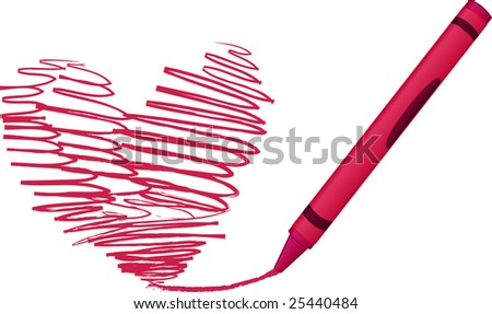 Crayon drawing a  heart - vector illustration - stock vector