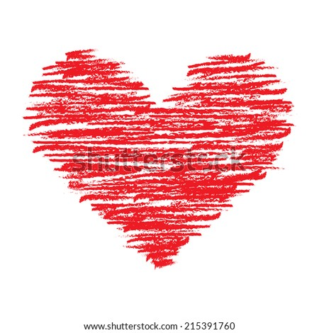 Crayon Heart - stock vector