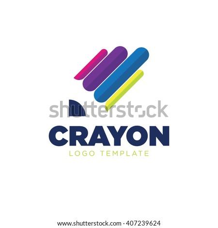 Crayon logo. Paint logo. Color logo. Pencil logo - stock vector
