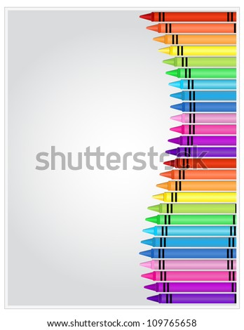 Crayons on Paper - Set of crayons displayed on white highlighted paper - stock vector